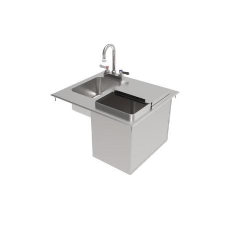 Stainless Steel Drop-In Ice Bin w/ Sink