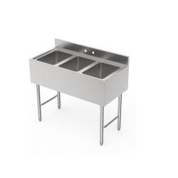 3 Bowls Underbar Sink - No Drain Board