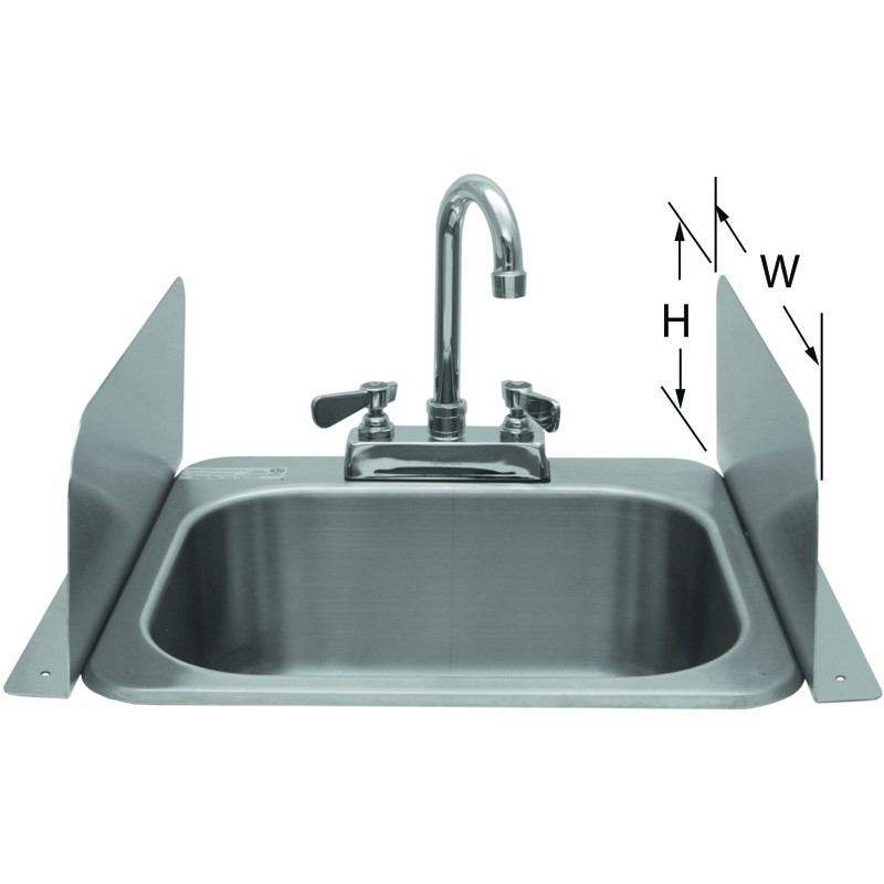 Deck mount splash guard for hand sinks gsw for Splash guard kitchen sink