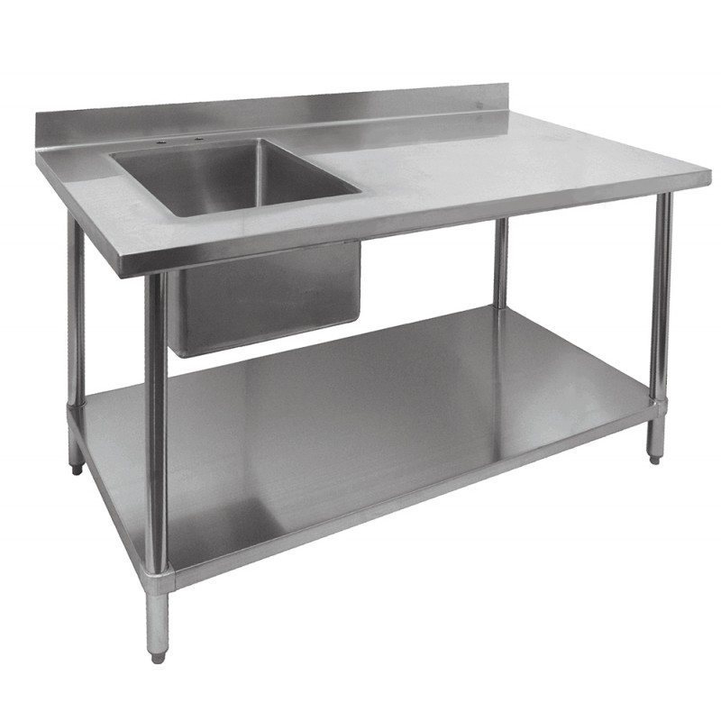 Stainless Steel Prep Tables GSW - Stainless steel work table with sink