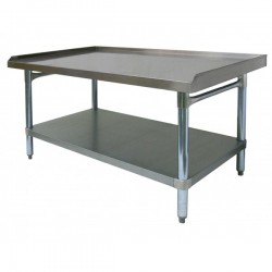 "Equipment Stand - Stainless Steel Top, Galvanized Undershelf & Legs w/ 1"" Upturn on 3 Sides"