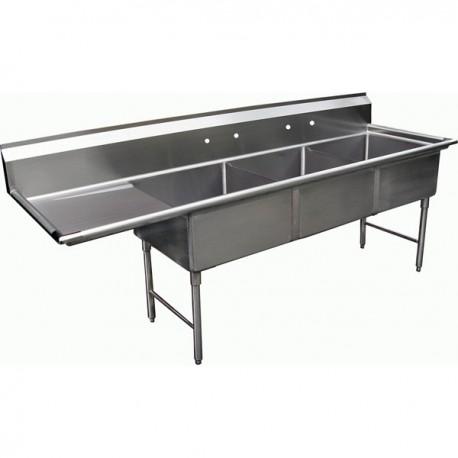 3 Compartment Sink - Left Drain Board