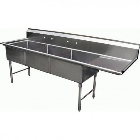 3 Compartment Sink - Right Drain Board