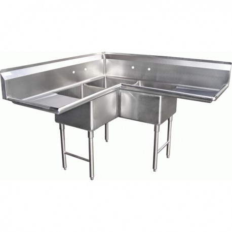 3 Compartment Corner Sink 2 Drain Boards Gsw