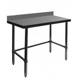 "Work Table - All Stainless Steel w/ 4"" Rear Upturn Open Base"