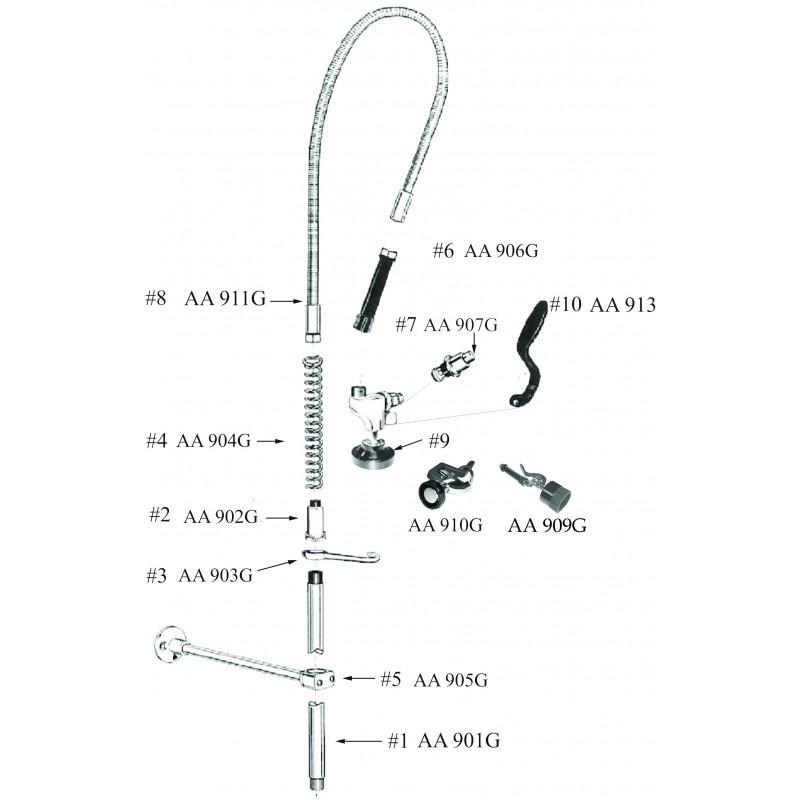 Pre Rinse Unit Parts And Spouts