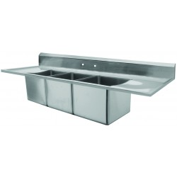 Marine Edge Drop-In Wall Mount Three Compartment Sink
