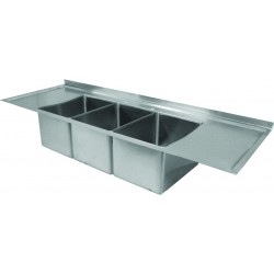 Marine Edge Drop-In Deck Mount Three Compartment Sink