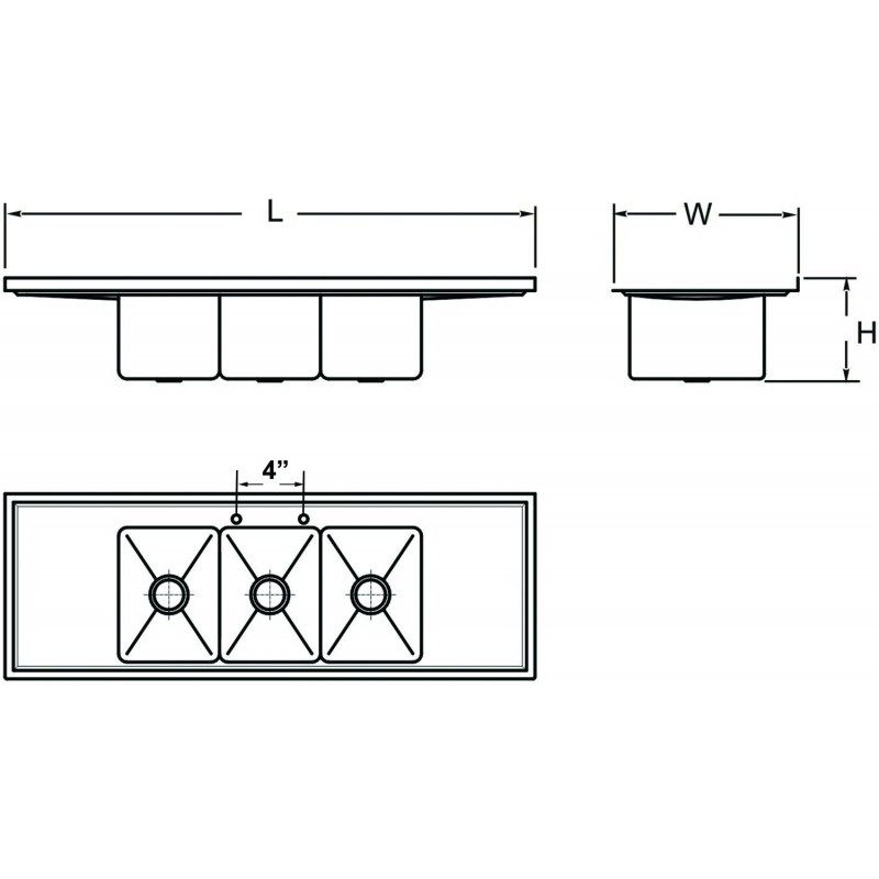 marine edge dropin deck mount three compartment sink