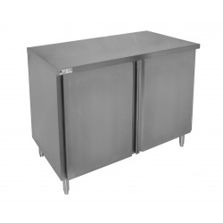 Flat Top Enclosed Work Table - Hinged Doors