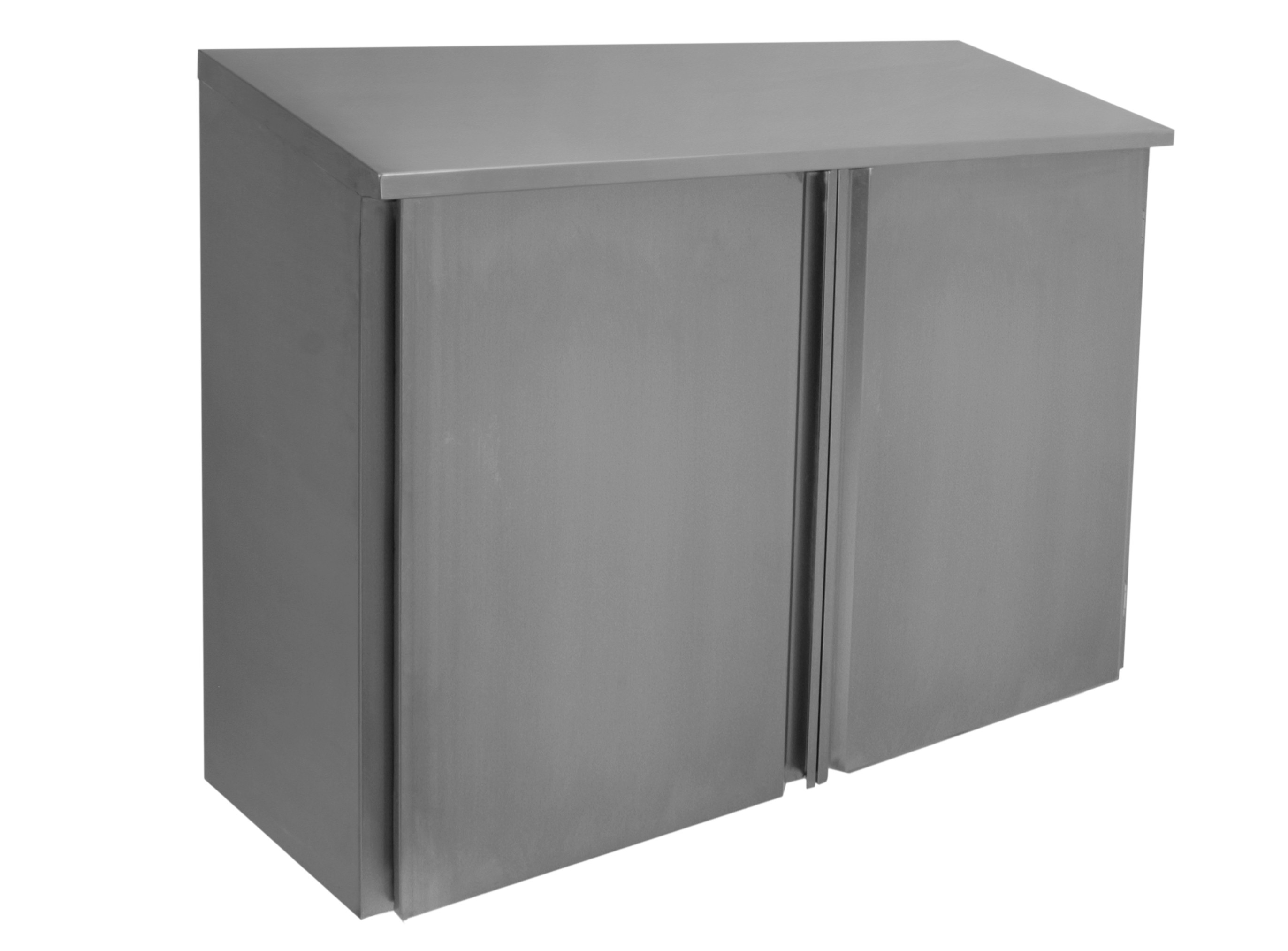 Stainless Steel Slope Top Wall Cabinets   Hinged Doors