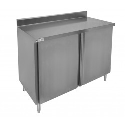 "4"" Rear Upturn Enclosed Work Table - Hinged Doors"