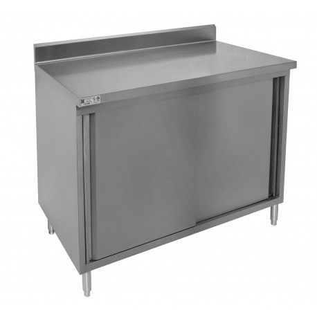 "4"" Rear Upturn Enclosed Work Table - Sliding Doors"