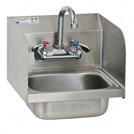 Wall mount hand sink with welded splash guards gsw for Splash guard kitchen sink