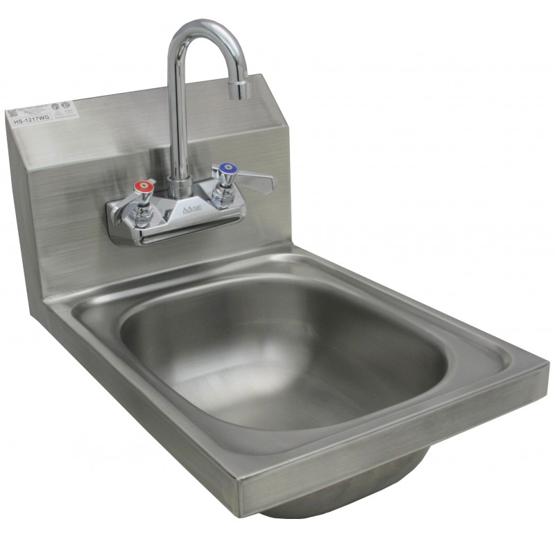 Stainless Steel Wall Mount Hand Sink w/ No Lead Faucet and Strainer ...