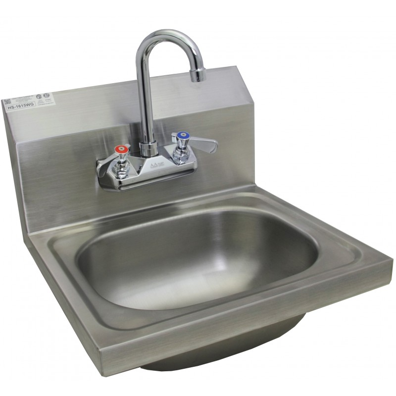 Stainless Steel Wall Mount Hand Sink W No Lead Faucet And
